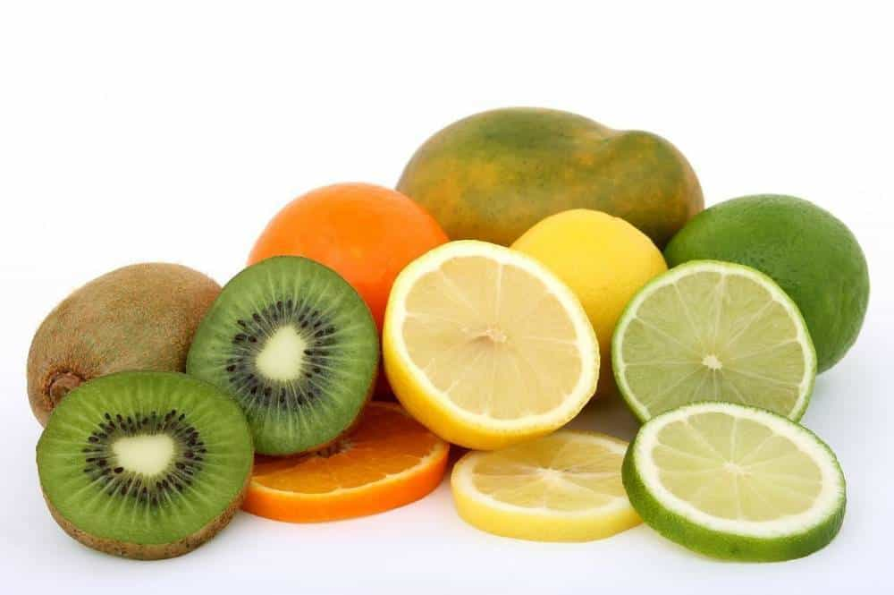 Various citrus fruits and kiwis.