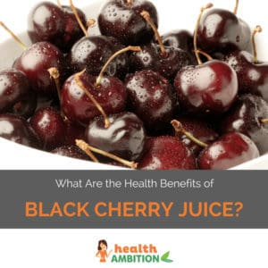 "A bowl of cherries with the title ""What Are the Health Benefits of Black Cherry Juice?"""