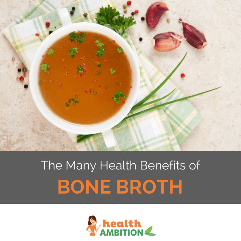 "A bowl of bone broth with the title ""The Many Health Benefits of Bone Broth"""