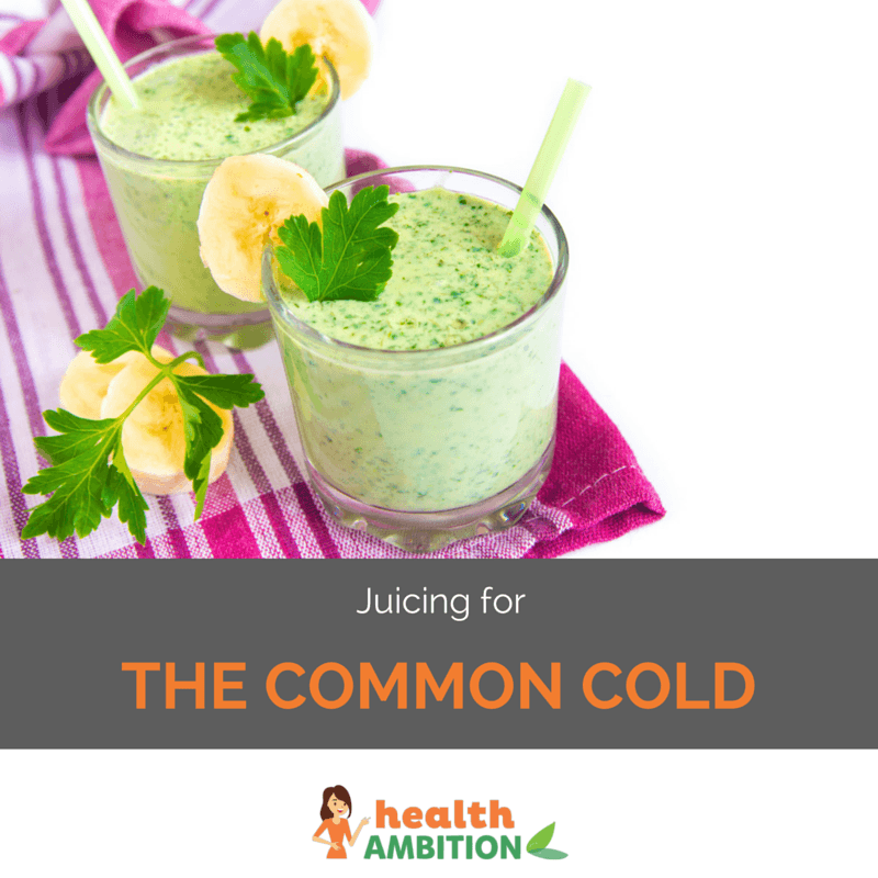 "A glass of green juice with the title ""Juicing for the common cold"""
