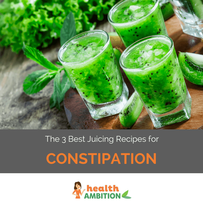 "Glasses of green juice with the title ""The 3 Best Juicing Recipes for Constipation"""