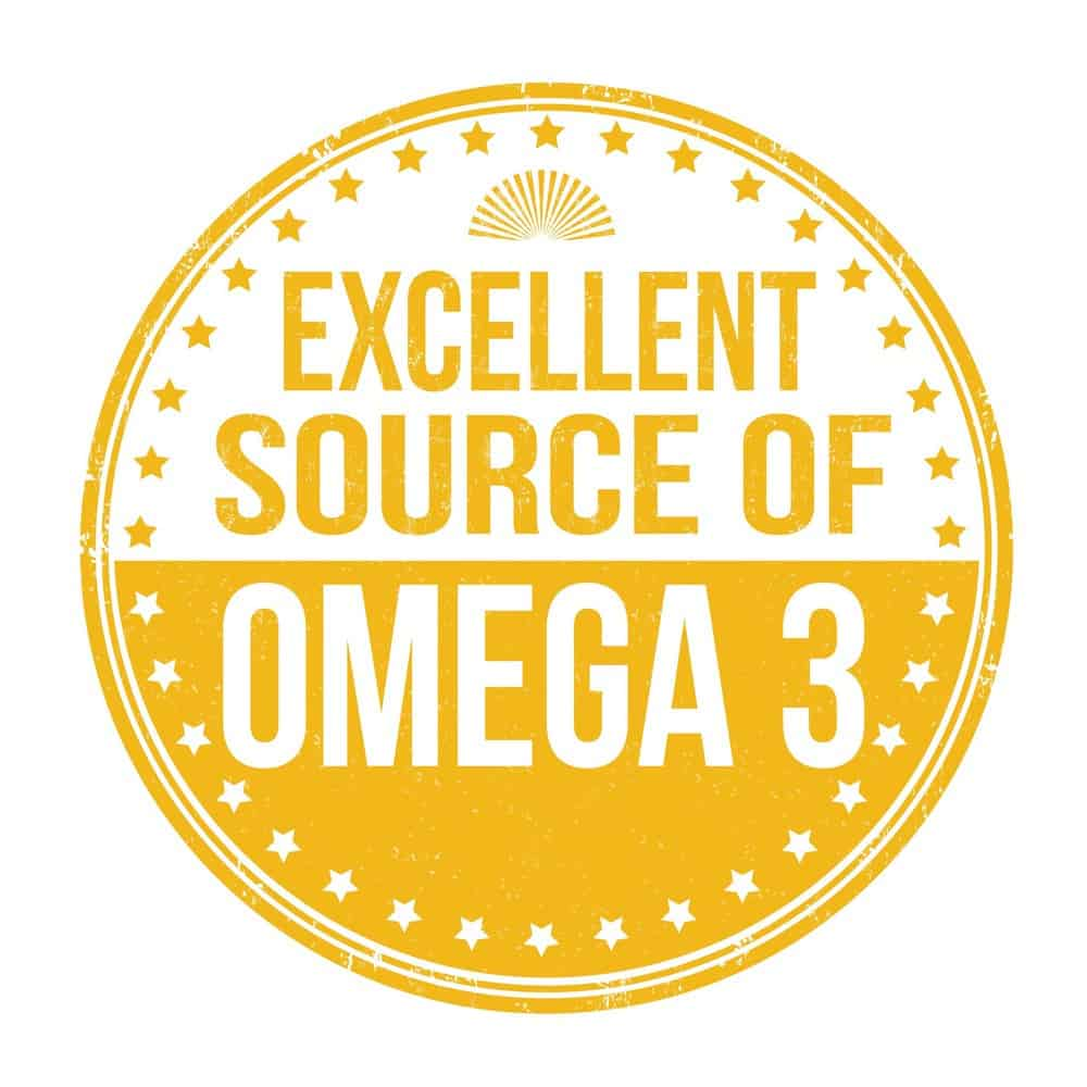 "A stamp saying ""Excellent source of Omega 3"""
