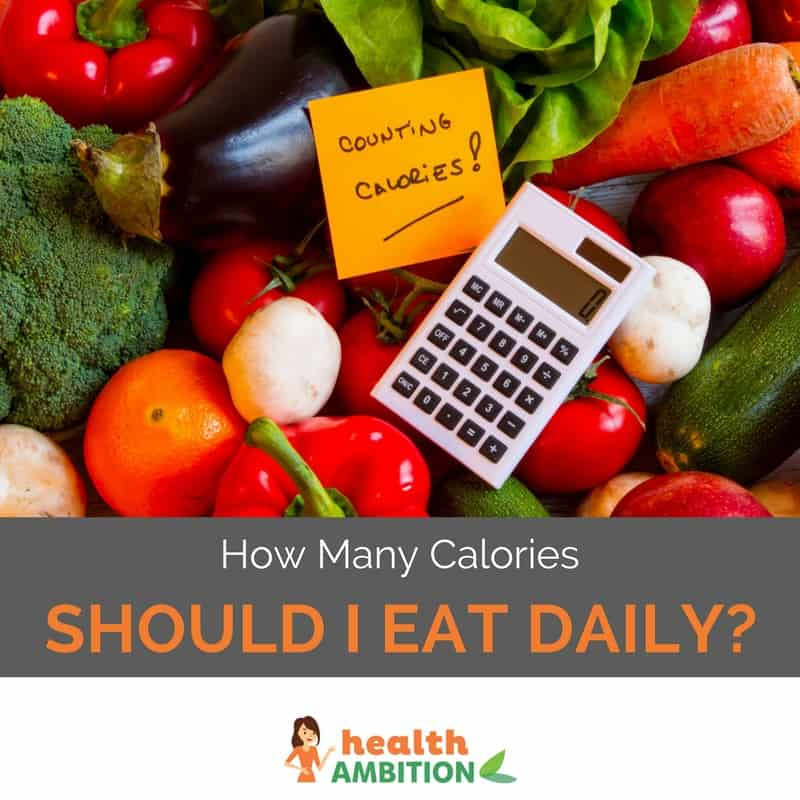 "A calculator with vegetables with the title ""How Many Calories Should I Eat Daily"""