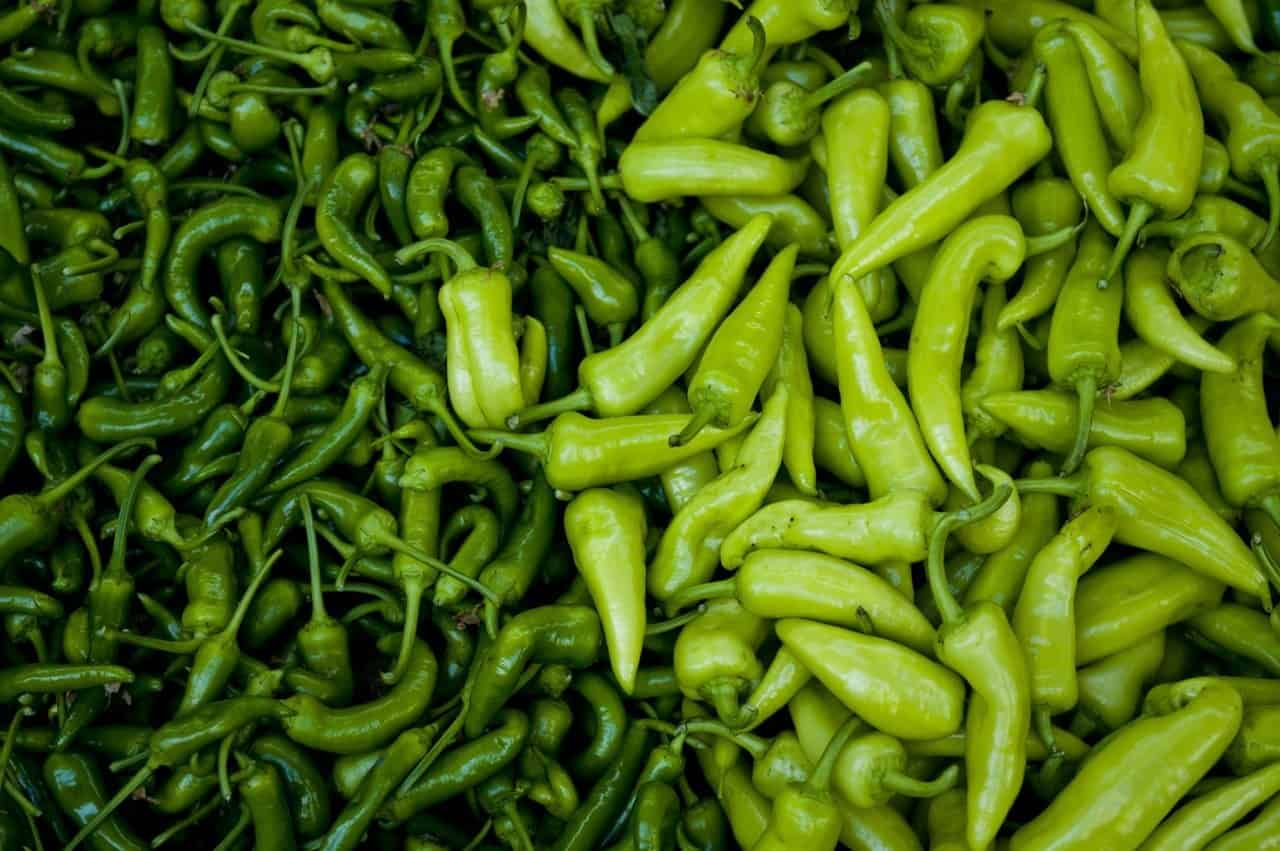 A large quantity of peppers.
