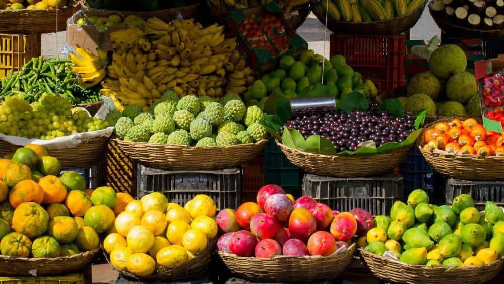 Fruit at a market stand.