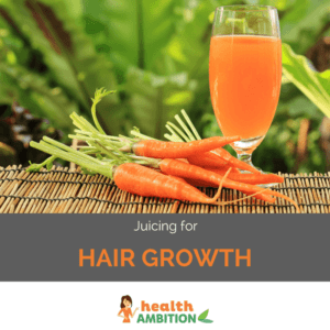 "Carrots and carrot juice with the title ""Juicing for Hair Growth"""