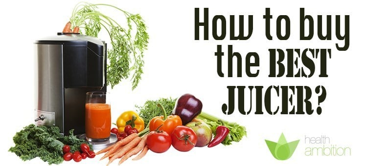 "A juicer with vegetables with the title ""How to buy the Best juicer?"""
