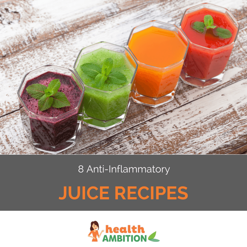 "Glasse sof juices with the title ""8 Anti-Inflammatory Juice Recipes"""