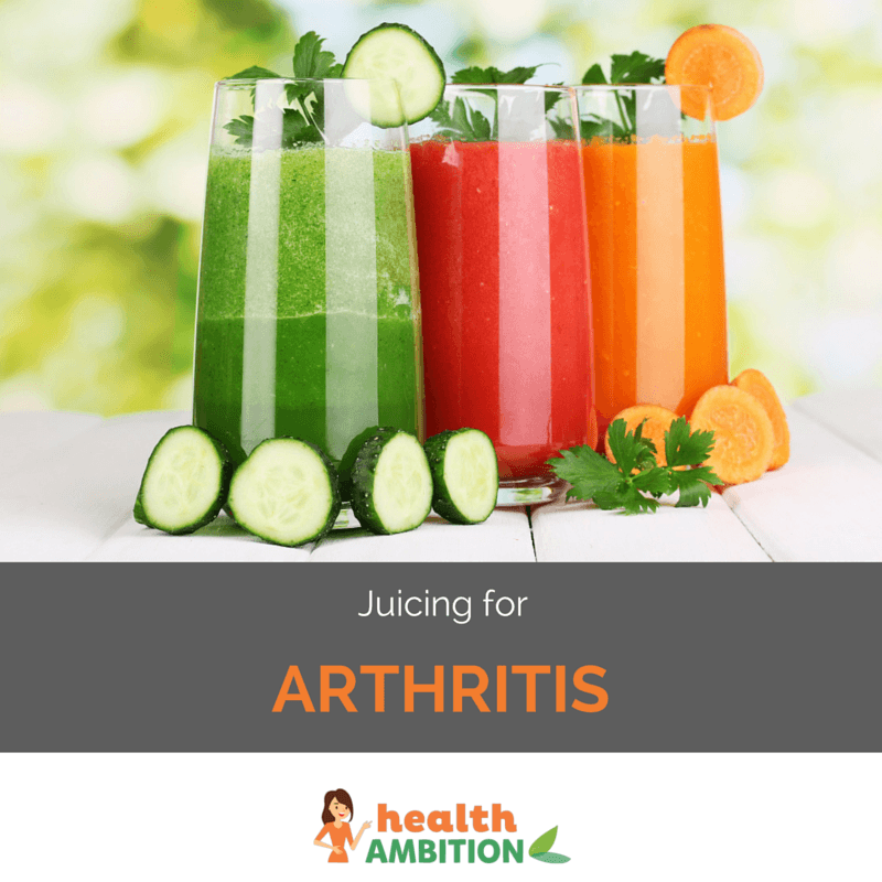 "Glasses of vegetable juice with the title ""Juicing for Arthritis"""