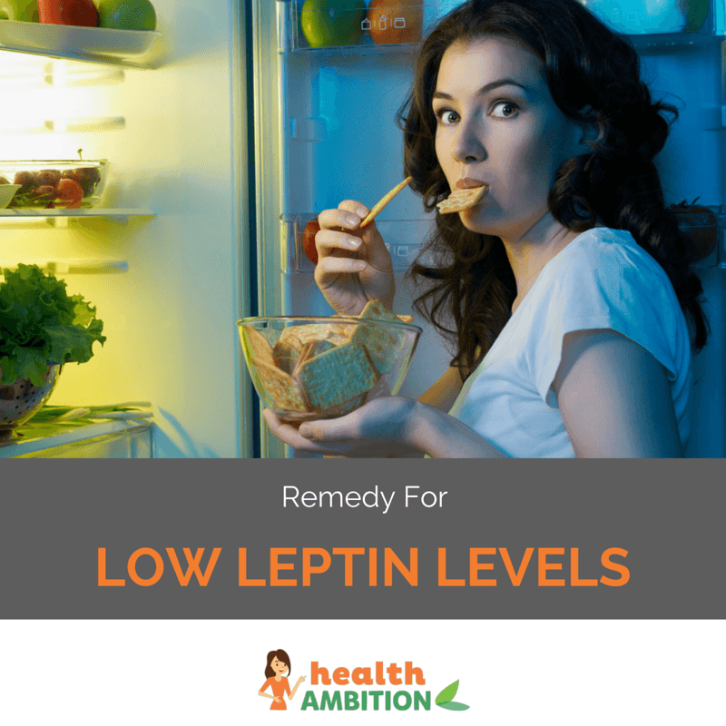 "A woman snacking from a fridge during night with the title ""Remedy for Low Leptin Levels"""
