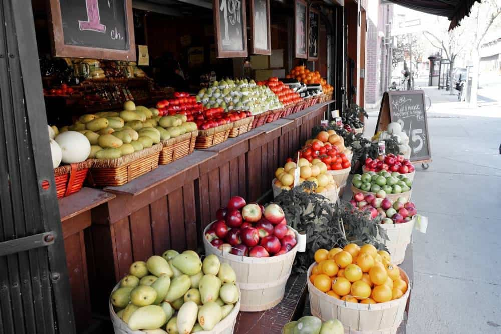 Fruits at a street market.