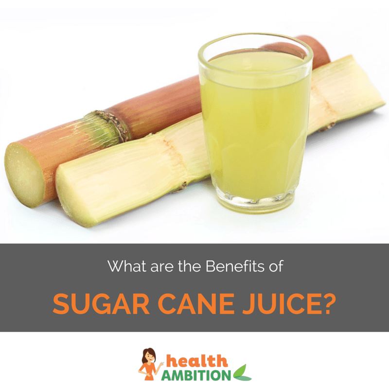 "Sugar cane with a glass of sugar cane juice and the title ""What are the Benefits of Sugar Cane Juice?"""