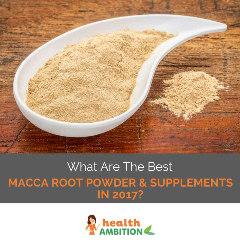 """A small bowl of maca powder with the title """"What are the Best Macca Root Powder & Supplements in 2017?"""""""