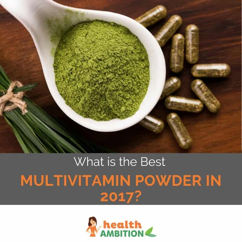 "Green tea powder with green tea capsules with the title ""What is the best Multivitamin Powder in 2017?"""