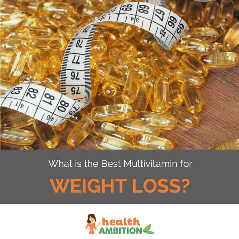 "Measuring tape among a pile of capsules with the title ""What is the Best Multivitamin for Weight Loss?"""