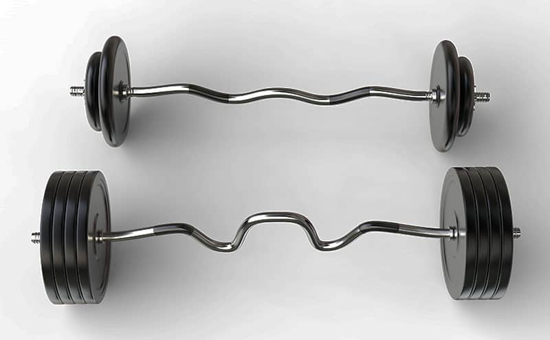 Two kinds of olympic ez curl bars on light grey background.