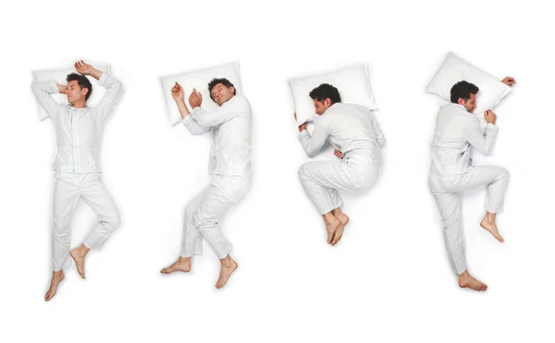 Man in pajamas, in four different sleeping position looking for the best to sleep in