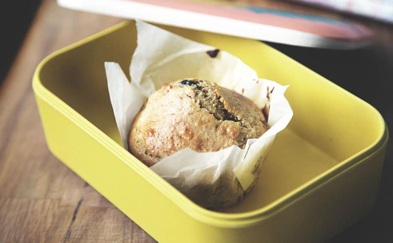 A muffin inside one of the best meal prep containers.