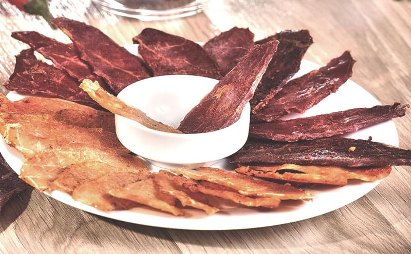 a plate of beef jerky variations
