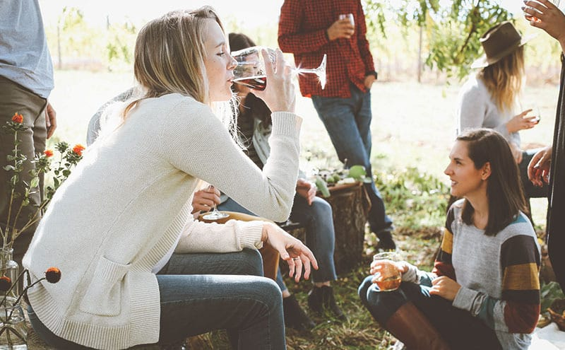 Friends drinking wine during a picnic without realizing it's one of the best drinks to lower blood pressure easily.